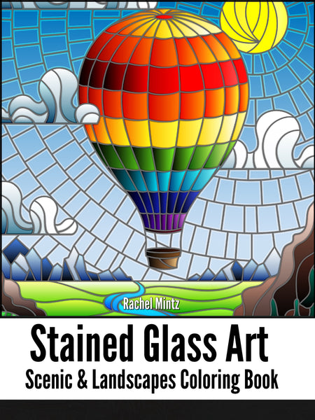 Stained Glass Art Scenic Landscapes, Mosaic Ocean, Picturesque Castles & Ships PDF Coloring Book