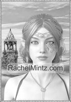 Stunning Elf Warriors - 30 Gorgeous Fantasy Female Elves Portraits, Grayscale Printable Coloring Book