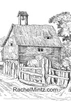 The Village - 50 Vintage Grayscale Rural Landscapes, Old Rusty Houses Coloring (PDF Book)