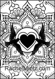 Love & Romance - Valentines Day Mandala Sillouettes, Unique Easy Designs, Large Print, Digital Coloring Book