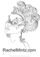 Venice Girls - Masks Coloring Book, Women in Carnival / Mardi Gras Decorated Mask Patterns (PDF Book)