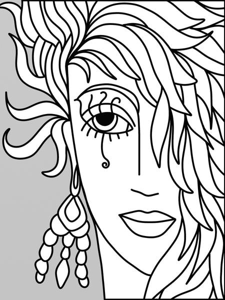 Visually Impaired Abstract Beauty Faces - Easy Coloring ...