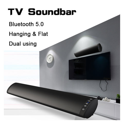 20W USB Bluetooth 5.0 TV Soundbar - Wireless Hifi Stereo Speaker for Home Theater - Surround Sound System - Wall Mounted