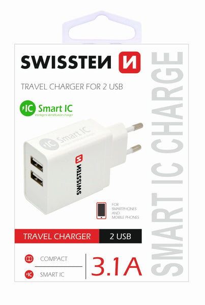 Swissten Travel Charger, Smart IC with 2 x USB 3.1A Power (White)