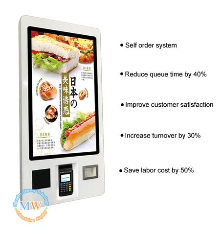 "All-in-One 32"" Android OS Touchscreen, Payment Self Service Kiosk with NFC Credit Card Readers and Thermal Printer"