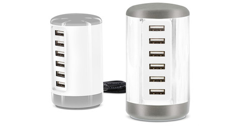 6-ports USB Power Charger Tower for Apple & Android devices