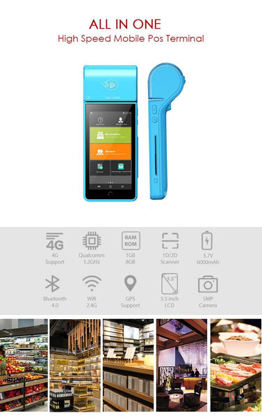 "Android 5.5"" ePOS terminal with 4G, Wifi, RFID, NFC, QR Scanner & Printer"