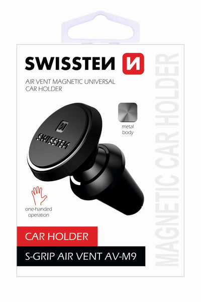 Swissten Air Vent Clip with S-Grip Magnetic SmartPhone Holder (AV-M9 BLACK)