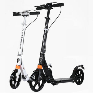 2-wheels Adult Foldable Kick Scooter with Double Shock Absorption, Double Brake and 20 cm PU-wheels
