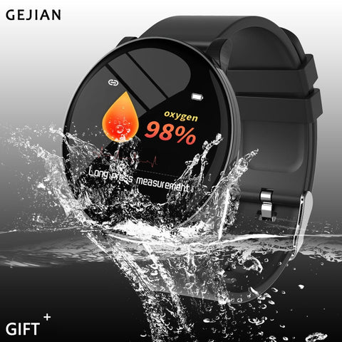 GEJIAN Male Bluetooth SmartWatch IP68 Waterproof, Heart Rate Monitor, Sports Step Counter Fitness Tracker for Android or iPhone