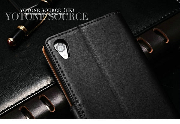 Genuine Leather Case For Sony Xperia Z2 D6502 L50W L50 Luxury Leather Wallet Flip Case Cover For Sony Xperia Z2 with Card Slot Stand Design