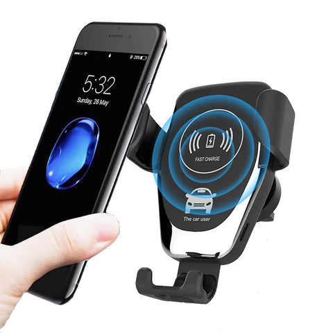 Qi 10W Fast Wireless Phone Charger & car holder for iPhone 8-X, Samsung Galaxy S6-S10, etc.