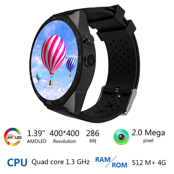 "1.39"" Android 5.1 Bluetooth 3G Nano-SIM WiFi SmartWatch with Google Maps, Fitness Tracker, Pulse Heart Rate & Sleep Sensor, Push Notifications & Calendar functions, Anti-lost for Android Phone or iPhone"