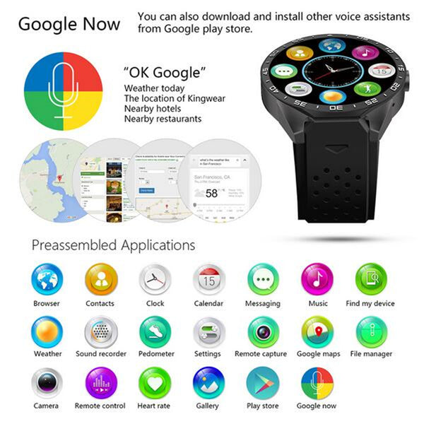 "1.39"" Android 5.1 SmartWatch with GPS Google Maps, Fitness Tracker, Heart Rate Sensor, Bluetooth & WiFi for Android SmartPhones"