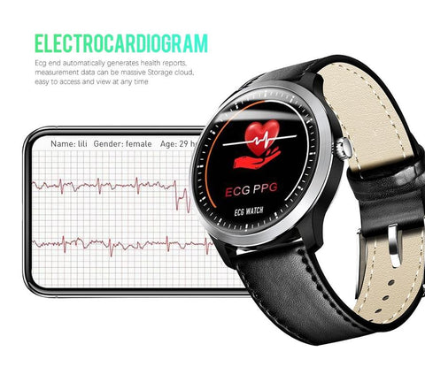 "1.22"" Bluetooth SmartWatch with 3D ECG + PPG Blood Pressure, Heart Rate Monitor, Fitness Health & Sports Tracker, IP68 Waterproof"