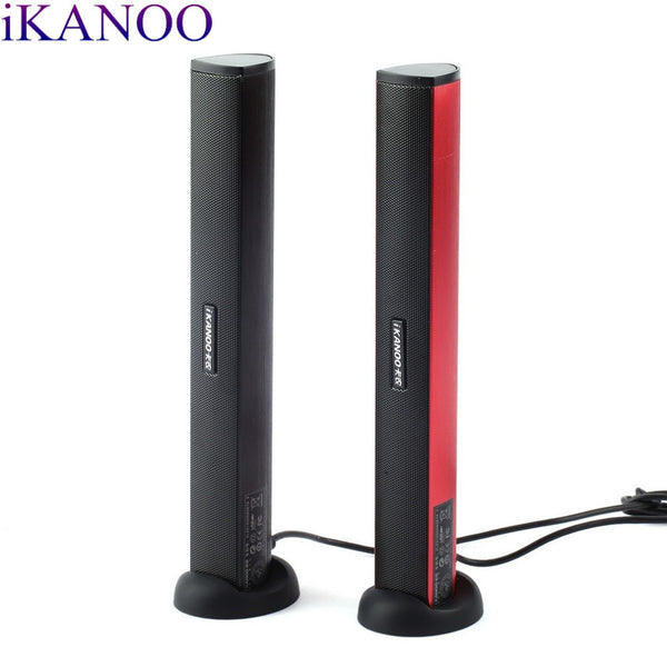 iKANOO USB Vertical Soundbar System Stereo Speaker for Laptops, SmartPhones and Tablets with Earphone or USB Jack