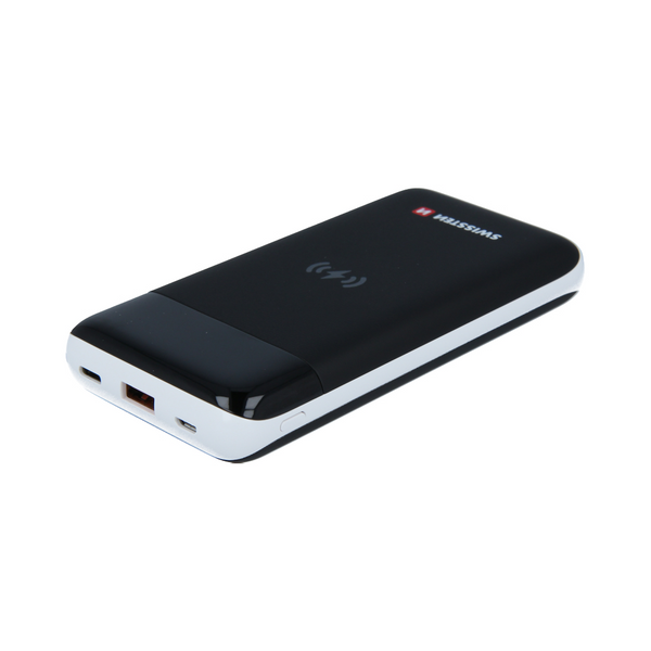 Swissten 10.000 mAh PowerBank for 10W wireless Qi-charging, USB-A & USB-C plug
