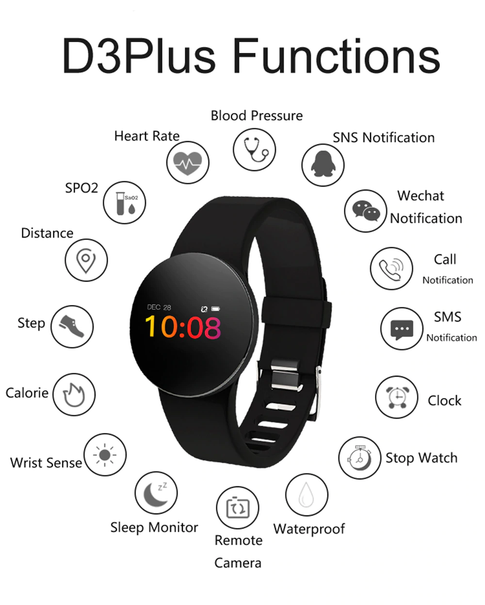 GEJIAN D3 Plus Waterproof SmartWatch Bracelet with Heart Rate, Blood Pressure, Oxygen & Sleep Monitor, Swimming and Sport Fitness Tracker, Call & Notification Reminders