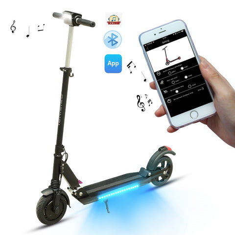 eScooter SUPERTEFF EW4 Pro Electric Scooter with KUGOO S3 Pro App, Bluetooth speaker and LED flash light