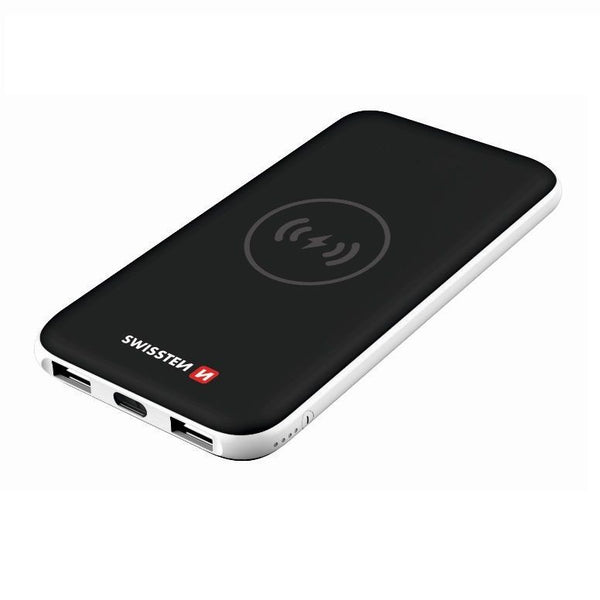 Swissten 8.000 mAh PowerBank for 10W Wireless Qi-charging, 2 USB-A & USB-C plug