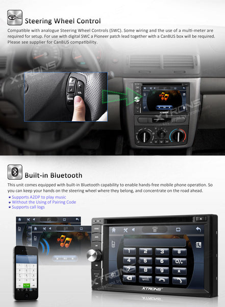 "2DIN RDS autoradio, 6.2"" HD touchskærm, GPS, DVD, Analog TV, USB/SD"