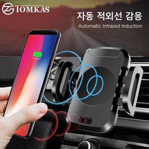 TOMKAS Air Vent Car Wireless Qi 10W Phone Charger Holder for iPhone X/XS, Samsung & Android SmartPhones with Qi charging