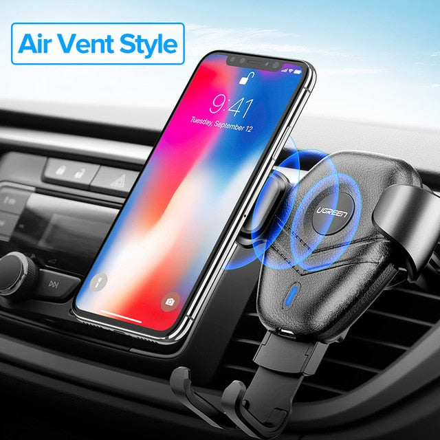 Qi Gravity Wireless Car Charger and holder for Android and iPhone 8-X