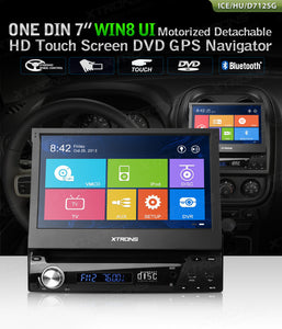 "1DIN Windows 8 autoradio, 7"" touchskærm, GPS, DVD, DVB-TV, USB/SD"