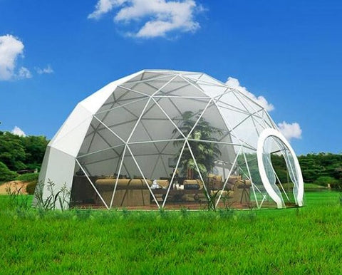 Ø 5m Skyline Dome Polyester Tent with rain-proof transparent PVC window-tiles on roof