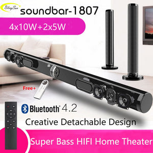 50W USB Wireless TV Soundbar Bluetooth Speaker - Stylish Fabric Sound Bar Hifi 3D Stereo Surround - Supports Bluetooth USB RCA AUX HDMI for Home Theater