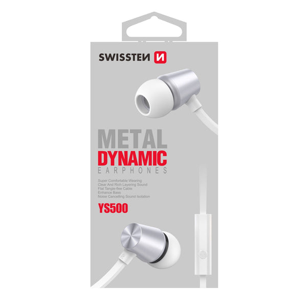 Swissten Earbuds Metal DYNAMICS YS500 BLACK with Microphone & function button for SmartPhones, Tablets & iPhone