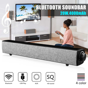 Bluetooth Speaker Sound Bar - Wireless Bass Soundbar, Subwoofer 20W for Home Theater, Loudspeaker with Mic, USB & AUX for PC