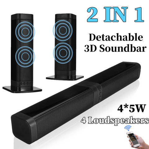 20W Detachable Wireless Bluetooth 5.0 Soundbar 3D Stereo Speakers with TF AUX FM input for TV, Phone and Tablet Home Theater