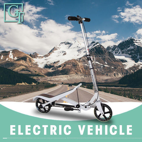 2-wheels Foldable Kick Scooter with T-Style adjustable steering height, leightweight aluminum frame & rubber wheels