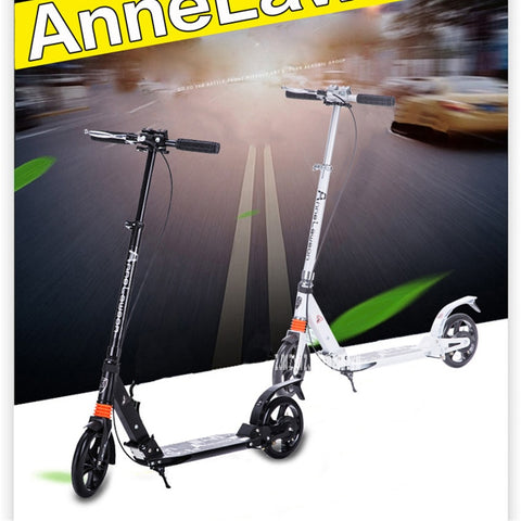 2-wheels Adult T-Style Foldable Kick Scooter, Double Shock Absorption, Adjustable Steering Height, PU-wheels and Hand Brake