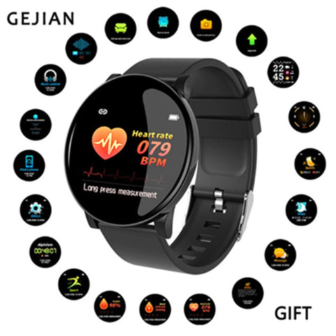 "1.3"" GEJIAN Bluetooth Healthcare SmartWatch, Blood Pressure, Heart Rate Monitor, Fitness Sportswatch, Call Reminders - Health SmartWatch for Men & Women"