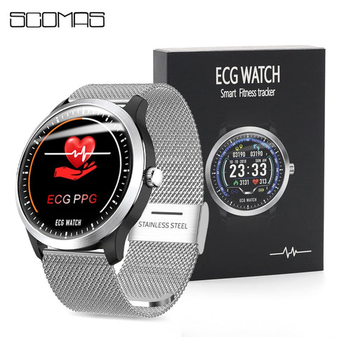 "1.22"" Bluetooth SmartWatch with ECG + PPG Blood Pressure, Heart Rate Sensor, Fitness Health & Sports Tracker, IP67 Waterproof"
