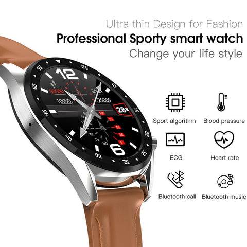 "1.3"" ECG SmartWatch with EKG, Heartrate, Blood Pressure, Sports Sensor, Bluetooth Call & Music Playback for Android or iPhone"