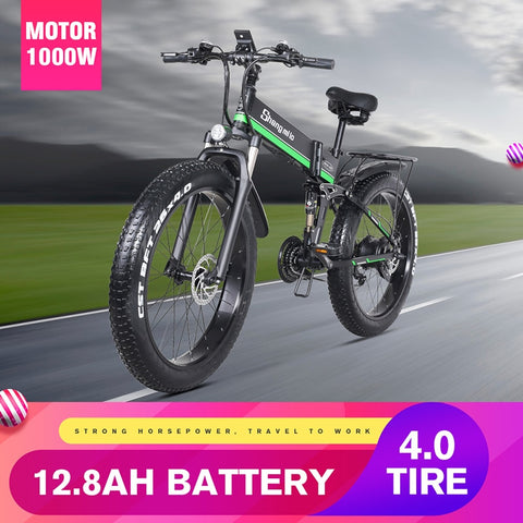 "26"" Electric Folding Mountain Bicycle with Fat Tires, 1000W/48V, 21 speeds, 40 km/t"