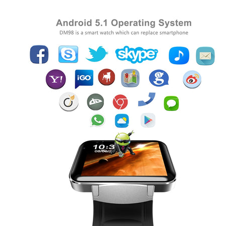 "2.2"" Android OS SmartWatch with GPS Google Maps, Pedometer Fitness Tracker, WIFI and Bluetooth support"