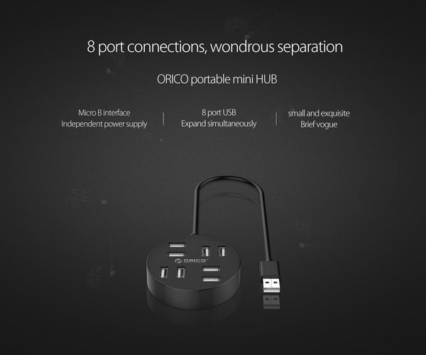 ORICO 8-Port Portable HUB for Laptop Desktop - Perfectly with Data Cable Reserved Micro B Power Supply Port (Black)