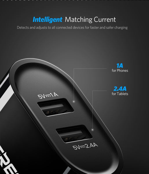 Ugreen for Dual Mobile Phone Smart USB Wall Charger (3.4A or 17W) for iPhone 8/X/7/6/iPad and Samsung Galaxy S9, LG, G5, etc.
