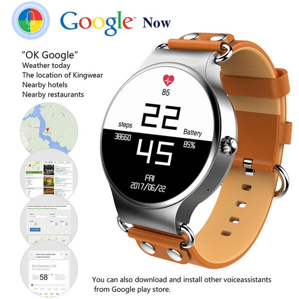 "1.39"" Android 5.1 Waterproof SmartWatch for 3G SIM with WIFI, GPS Google Maps, Calendar, Fitness Heart Rate & Sleep Sensor for Android or iPhone with Google Calendar, Music, Play Now Browser Sync!"