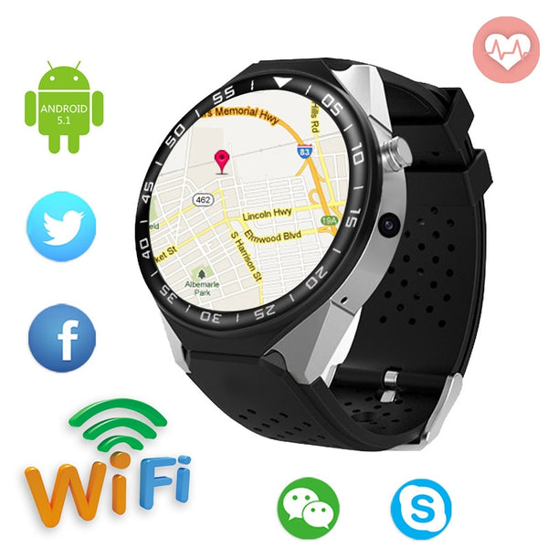 "1.39"" Bluetooth Nano-SIM SmartWatch with Google Maps, Fitness Tracker, Heart Rate & Sleep Pulse Sensor, Push Notifications, Google Calendar functions"