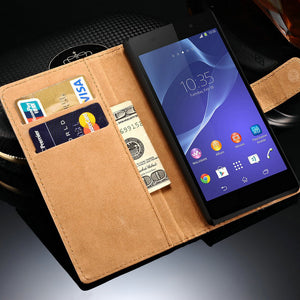 Genuine Leather Case For Sony Xperia Z4 Z3 Plus (E6553) Dual (E65339) Wallet Flip Stand Phone Bag Cover For SONY Xperia Z4 Cases