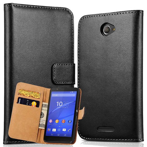 Genuine Leather Flip Cover Mobile Phone Case For Sony Xperia E4 With Book Wallet Stand Style Phone Bag Coque For Xperia E4