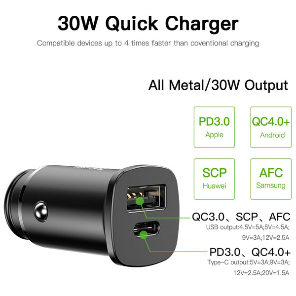 Baseus 30W Dual USB Fast Car Quick Charger (QC 4.0) for Android & iPhones