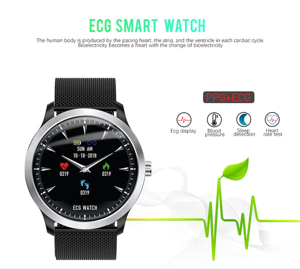 "1.22"" 3D EKG SmartWatch with ECG Display, PPG Multi-sport Fitness Tracker, Pulse Heart Rate, Sleep Monitor & Blood Pressure sensor"