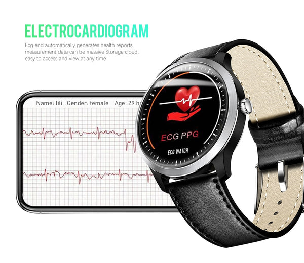 "1.22"" Bluetooth SmartWatch with ECG + PPG Blood Pressure, Heart Rate Monitor, Fitness Health & Sports Tracker, IP68 Waterproof"