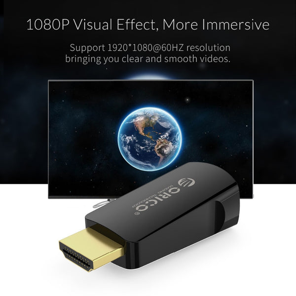 ORICO Portable HDMI to VGA Adapter - Audio & Video Convertor Male to Female - HD 1080P For Projector, Laptop, Display, TV BOX and Speaker